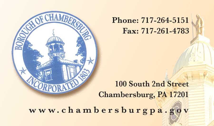 """<center>Borough of Chambersburg, Inc. 