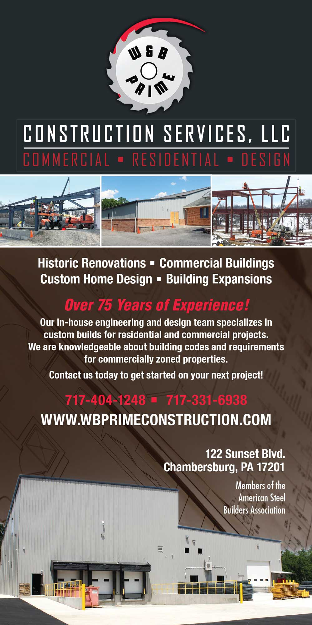 """<center>W&B Prime Construction Services, LLC 